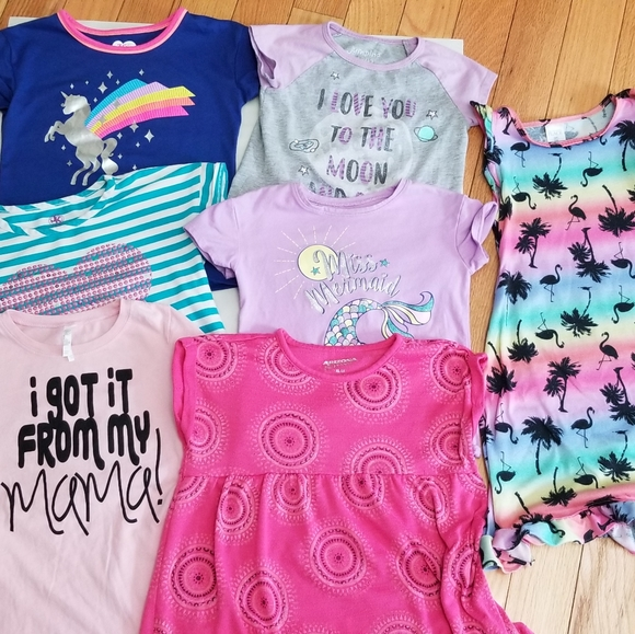 Lot of 6 Screened Tees and One Girls Dress